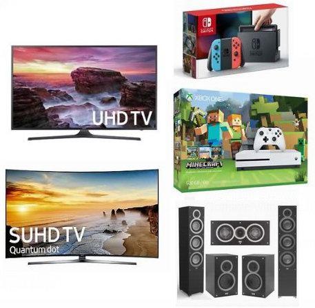 精选 Samsung、LG、Yamaha、PlayStation、Nintendo、Xbox One、Logitech 等品牌电视、家庭影院、音响、游戏机等4.6折起!额外8折!