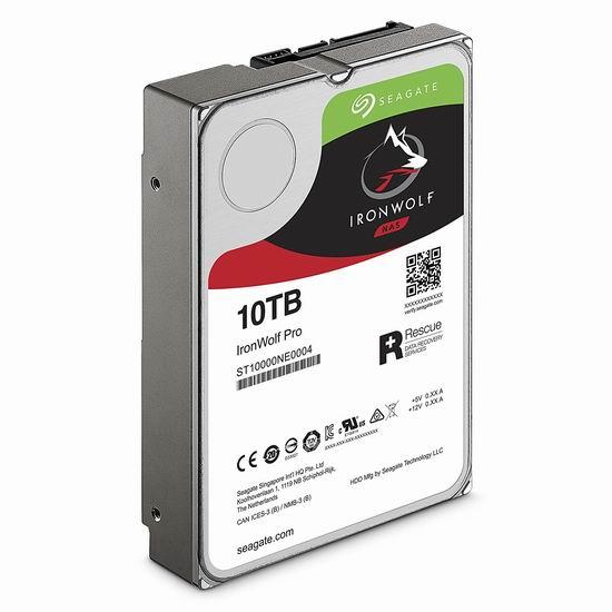 历史新低!Seagate 希捷 IronWolf 酷狼 Pro ST10000VN0004 10TB NAS网络存储专用硬盘5.8折 384.87加元包邮!送2年数据恢复服务!