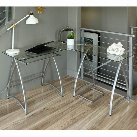 历史新低!Walker Edison L型时尚银色 钢化玻璃办公桌5.6折 148.97加元包邮!