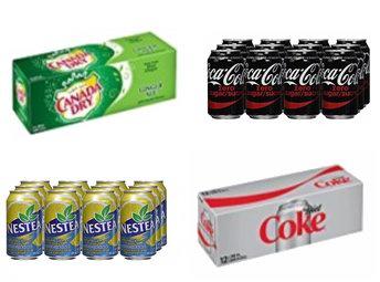 精选 Coca-Cola可口可乐无糖汽水、Nestea雀巢柠檬茶、Diet Coke健怡可乐、Canada Dry加拿大姜汁汽水(355ml x 12罐)5.6折 3.79-3.99加元!