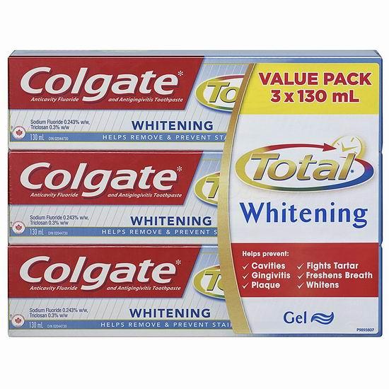 历史新低!Colgate 高露洁 Total 抗菌防蛀美白牙膏超值装(3 X 130ml)4.4折 3.5加元!