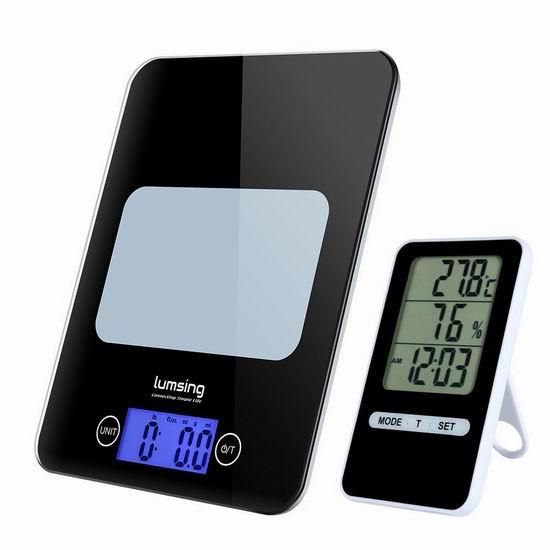 历史新低!Lumsing 2合一 多功能 钢化玻璃厨房秤/计时器/温度湿度计 14.44加元限量特卖!