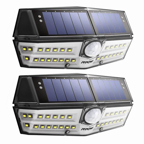 Mpow 30 LED 新一代 超亮太阳能 运动感应灯2件套 29.83加元包邮!