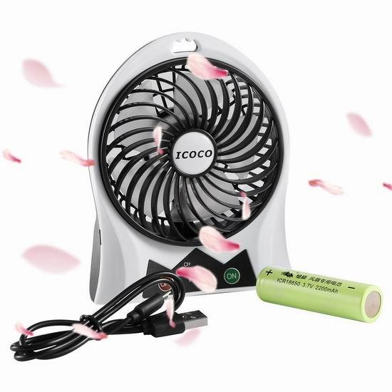 ICOCO 迷你可充电风扇4.4折 8加元限量特卖!