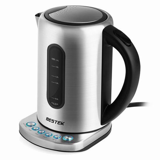 BESTEK 1.7升 5档温控 不锈钢保温电热水壶 59.49加元限量特卖并包邮!