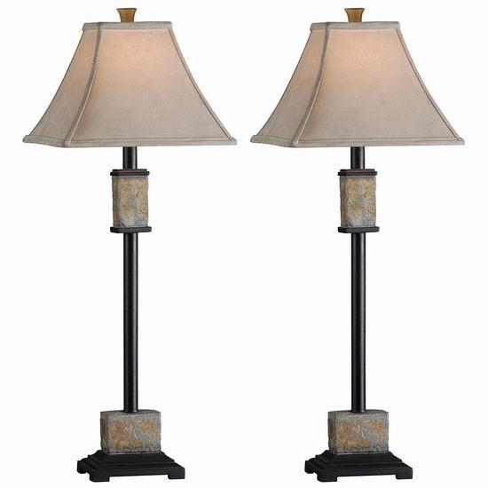 历史新低!Kenroy Home 31201 Bennington Buffet 复古台灯2件套3.4折 66.71加元包邮!