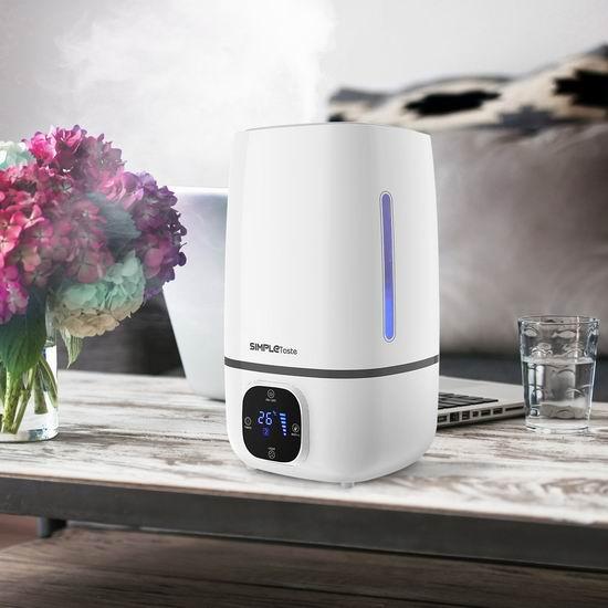 SimpleTaste 4升大容量 静音超声波加湿器 50.99加元限量特卖,原价 59.99加元,包邮