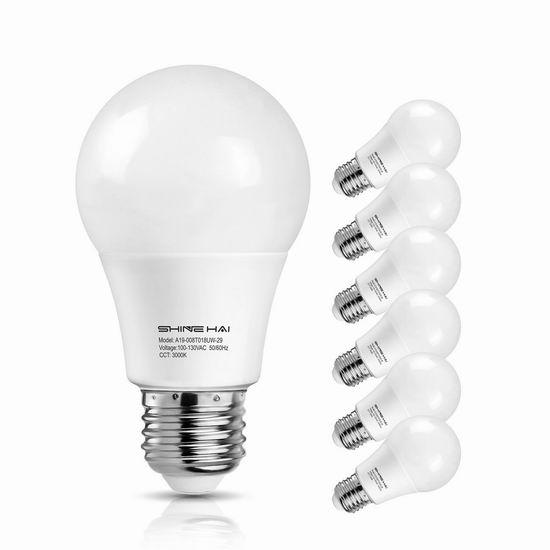 历史新低!Shine Hai A19 60瓦等效 LED节能灯6件套2.2折 9.99加元清仓!