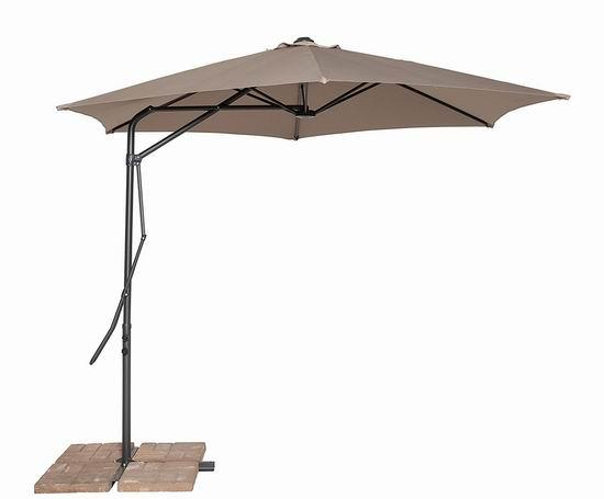 历史新低!California Sun Shade Cantilever 10英尺豪华曲柄庭院遮阳伞 77.43加元包邮!