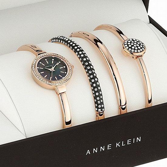 白菜速抢!Anne Klein AK-2240RGST 玫瑰金 施华洛世奇水晶 女士腕表+手镯套装2.6折 82.95加元包邮!