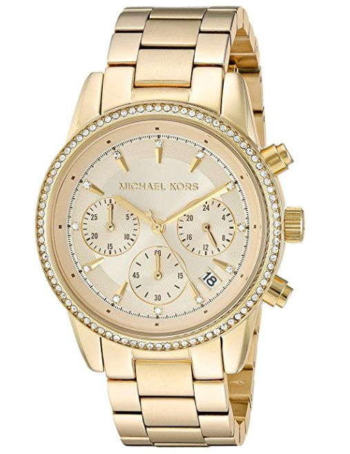 Michael Kors MK6356 Ritz 三眼计时 女士金色水晶腕表4.7折 157.2加元限量特卖并包邮!