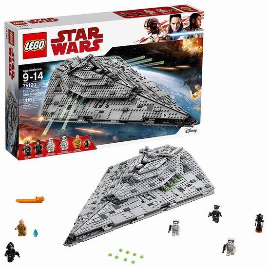 历史新低!Lego 乐高 75190 星球大战系列 第一秩序歼星舰(1416pcs)7.2折 129.97加元包邮!