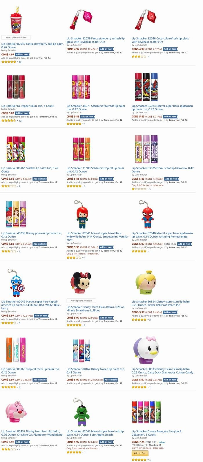Lip Smacker 迪士尼卡通造型 Tsum Tsum系列润唇膏 4.97加元起特卖!多款可选!