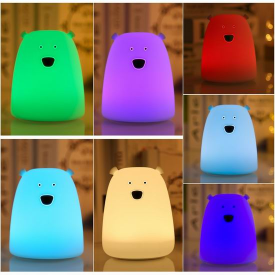 历史新低!S&G 小熊 可充电 儿童LED硅胶 七彩小夜灯 10.95加元!