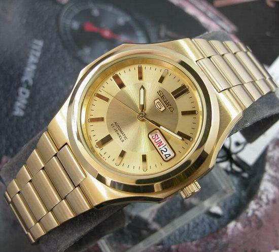 历史新低!Seiko 精工5号 SNKK52 男式金色自动机械腕表/手表3.4折 75.63加元包邮!