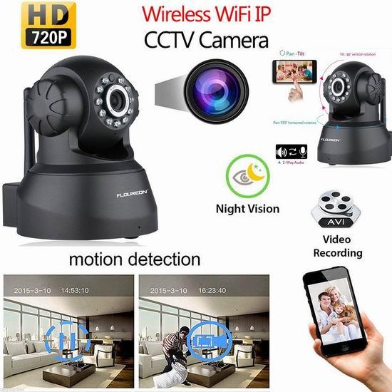 FLOUREON 720P 无线Wi-Fi安全监控摄像头4.8折 36.79-37.99加元限量特卖并包邮!3色可选!