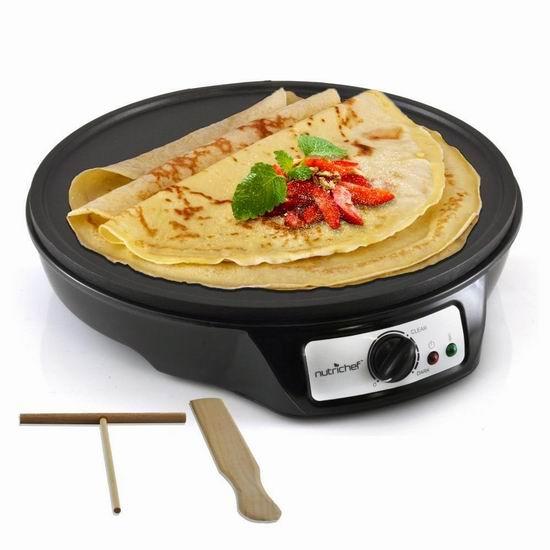NutriChef 12英寸电煎饼机5.7折 39.99加元包邮!另有双烤盘版59.99加元!