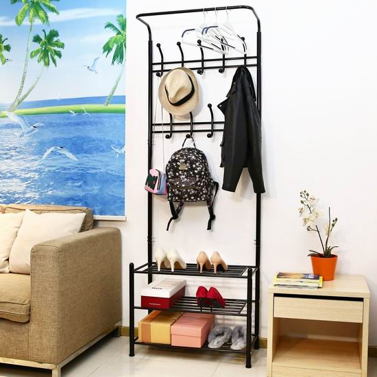 HOMFA 二合一 时尚金属鞋架+衣帽架 59.49加元限量特卖并包邮!