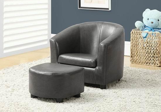 Monarch Specialties I 8109 幼儿灰色单人沙发+脚踏凳4.9折 91.97加元包邮!会员专享!