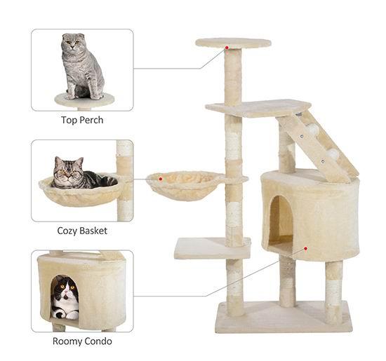 PawHut 49英寸多层猫树公寓/猫爬架4.7折 59.99加元包邮!
