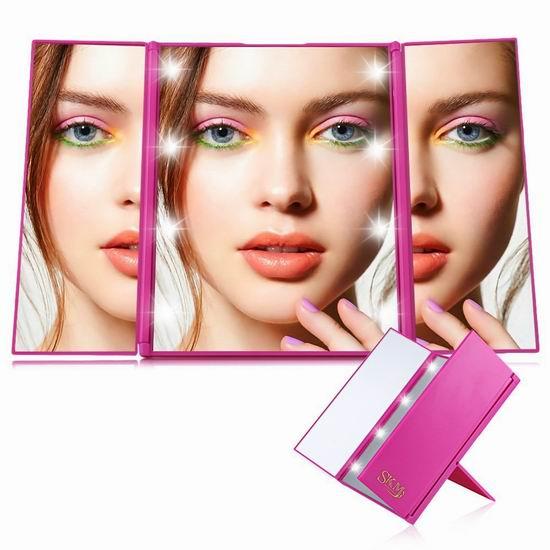 白菜价!历史新低!SKM 粉红色 三折式LED照明化妆镜3折 11.99加元清仓!
