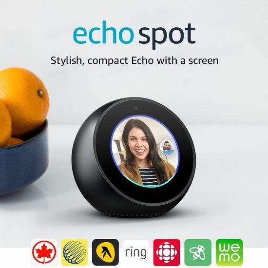 黑五专享:历史新低!亚马逊 Echo Spot 智能音箱 任购2台,降为119.99加元包邮!两色可选!