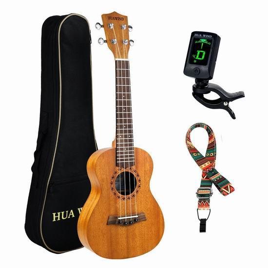 HUAWIND Concert Ukulele 21-23寸夏威夷小吉他/尤克里里套装2.5折 32.79-55.99加元限量特卖并包邮!