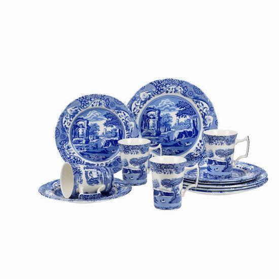 折扣升级!历史新低!Spode 英国顶级百年名瓷 Blue Italian 中国风 蓝白复古餐具12件套2.4折 94.99加元清仓并包邮!