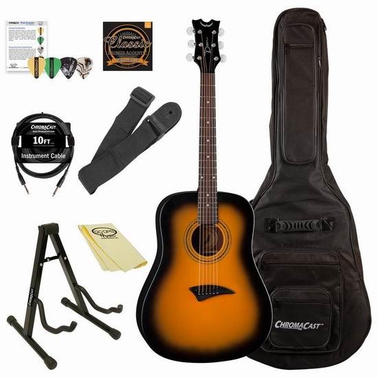 白菜价!历史新低! Luna Guitars Acoustic AXS Dreadnought 实木吉他超值套装2.5折 119.2加元包邮!