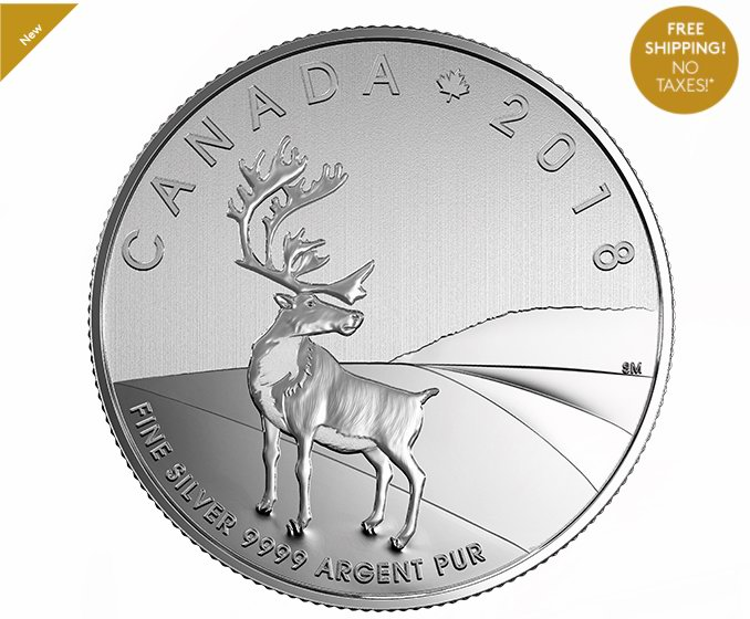 销量冠军!2018 THE CARIBOU 加拿大驯鹿 纯银纪念币 19.95加元包邮!