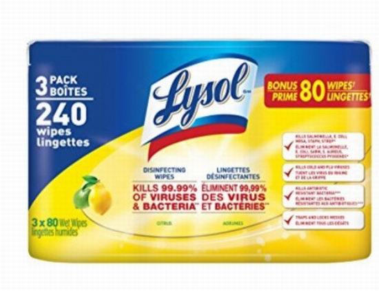 Lysol 来苏尔120抽消毒湿巾3瓶装 6.49加元(2款可选),原价 11.49加元