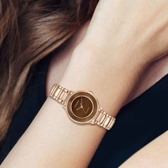 Citizen 西铁城 Circle of Time EM0382-86X 女式时尚玫瑰金 光动能腕表2.4折 109.17加元包邮!