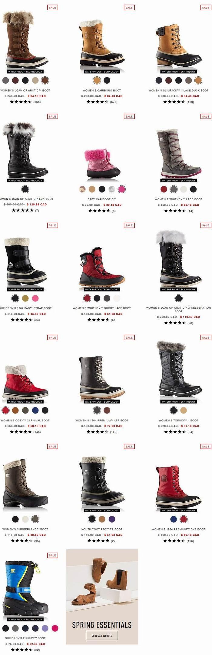 Sorel 加拿大冰熊 春季大促!精选成人儿童雪地靴、保暖鞋3.2-4折清仓!女靴低至48.68加元!儿童款32.43加元!
