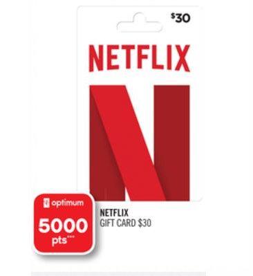 购买 Netflix 30加元礼品卡送价值5加元 5000 PC Optimum积分!