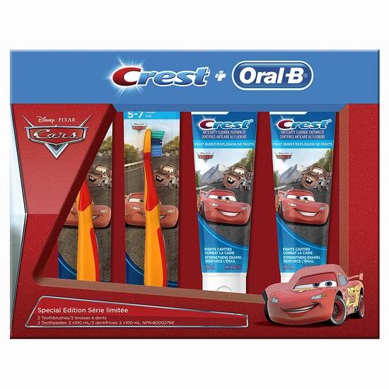 Crest Oral-B 迪士尼 赛车总动员 儿童牙刷+牙膏4件套 6.77加元!