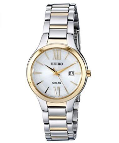 白菜价!历史新低!Seiko 日本精工 SUT210 女式时尚双色 光动能腕表/手表3折 77.6加元包邮!