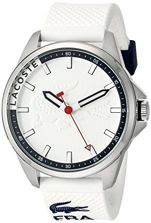白菜价!历史新低!Lacoste 法国鳄鱼 Capbreton 男士白色休闲腕表/手表3.2折 68.62加元包邮!