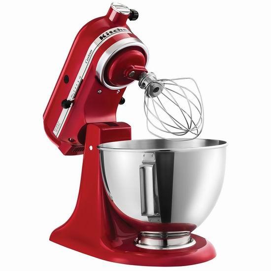 金盒头条价上再降30加元!KitchenAid KSM120ER 4.5夸脱 红色多功能厨师机5.2折 249.99加元包邮!