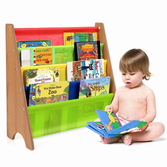 销量冠军!HOMFA 儿童4层彩色布艺书架 33.99加元限量特卖并包邮!