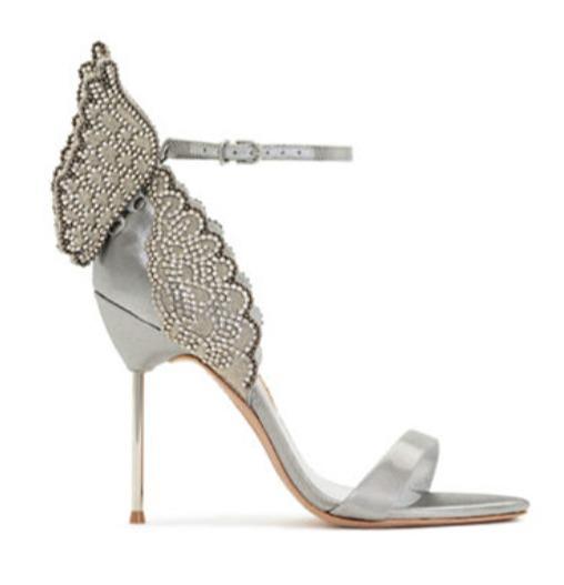 SOPHIA WEBSTER 水晶点缀天蝴蝶高跟鞋 银色款 538加元(6码),原价 1345加元,包邮