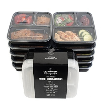 California Home Goods 3格塑料保鲜饭盒 10套装 12.74加元,原价 24.95加元