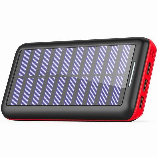 BERNET 24000mAh 大容量太阳能充电宝 31.99加元限量特卖并包邮!送USB迷你风扇!3色可选!