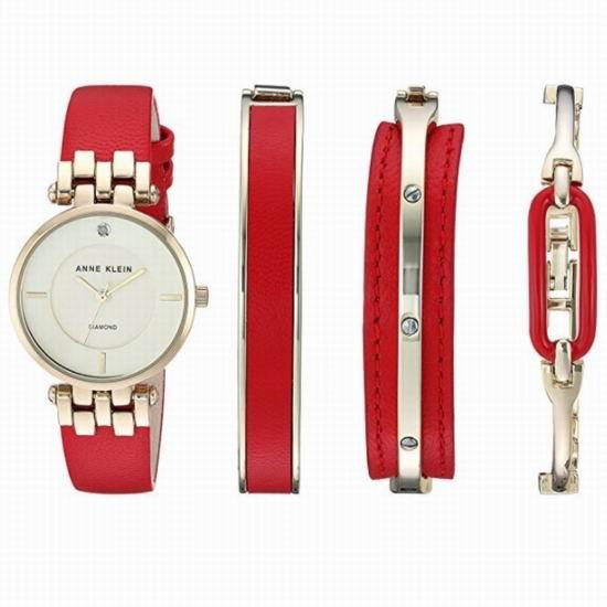 手慢无!Anne Klein AK-2684RDST 金色钻石 女式腕表/手表+手镯套装3.3折 67.47加元清仓并包邮!