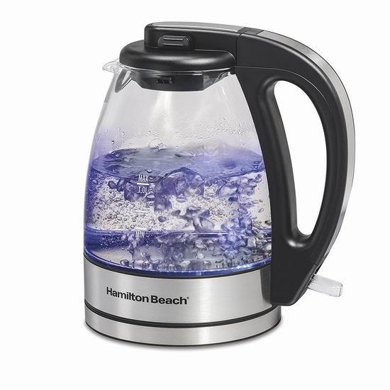Hamilton-Beach 40930C 1升 蓝光玻璃 电热水壶 29.99加元!