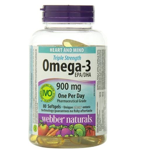 Webber Naturals Triple Strength 三重强效 Omega-3鱼油胶囊(900毫克 x 80粒)6.8折 12.32加元!