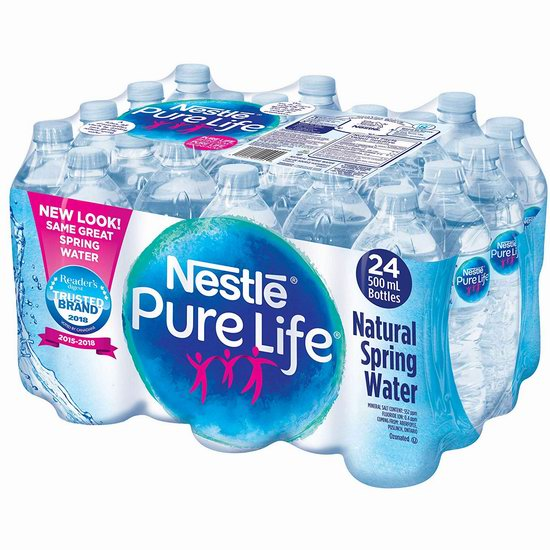 Nestle 雀巢 Pure Life 100%纯天然矿泉水(24瓶x500ml)4.1折 2.49加元!