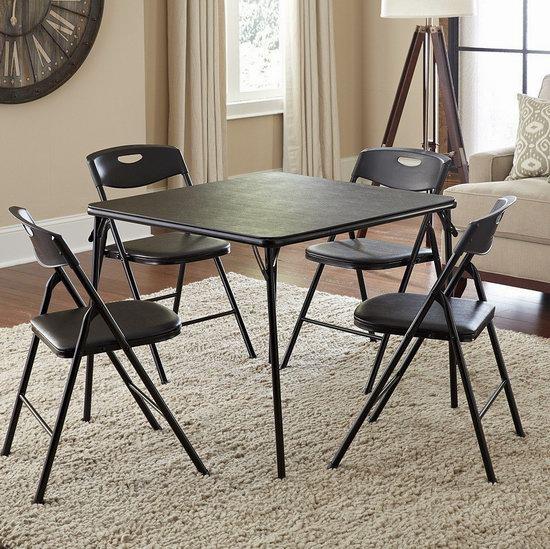 历史新低!Cosco 黑色可折叠桌椅5件套 119.99加元包邮!