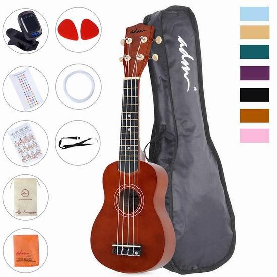 历史最低价!ADM Economic Soprano Ukulele 21寸 夏威夷小吉他/尤克里里套装3.3折 31.44加元!