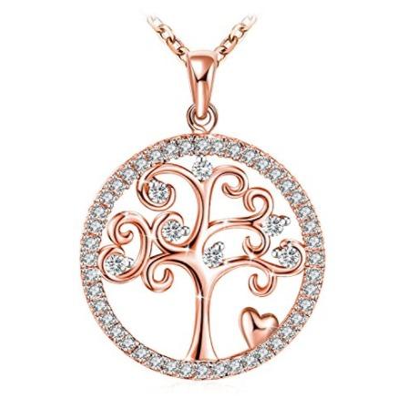 历史新低!J.Rosée 生命之树 玫瑰金 纯银项链1折 16.87加元清仓!