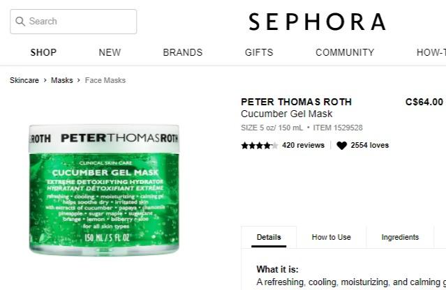 Peter Thomas Roth 彼得罗夫青瓜面膜 / 青瓜舒缓补水面膜(150ml) 45.64加元包邮!sephora同款64加元!